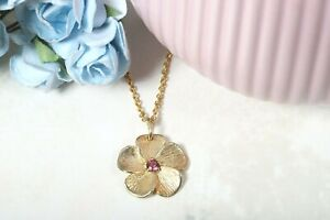 ADI PAZ 14K Yellow Gold Rhodolite Floral Necklace, Made in Israel