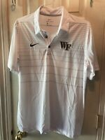 NIKE DRI FIT WHITE STRIPED MENS WAKE FOREST MENS SS COLLARED SHIRT SIZE LARGE