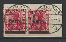 Saar Germania 6cI Paar Briefstück gestempelt Saarlouis signiert BPP luxus