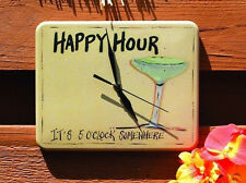 It's 5 O'Clock Somewhere, Happy Hour, Wall Clock Nautical Beach Coastal Decor