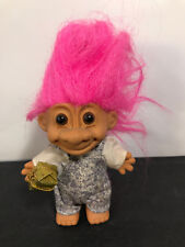 "Troll Doll 4.5"" Russ Birthday Gift Denim Overalls Pink Hair"