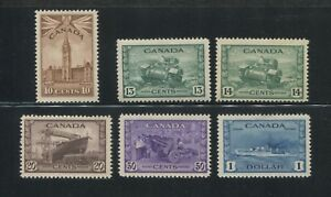 1942 Canada Stamps #257-262 Mint Lightly Hinged Very Fine Original Gum Set