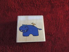 "NEW Stampabilities Rubber Stamp Wood HAPPY HIPPO BIRD 1.75""X1.75"""