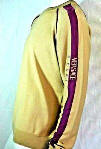 VERSACE Strick PULLOVER Jersey 305€ NEU new Wolle Gr. L beige lila wool NEU tags