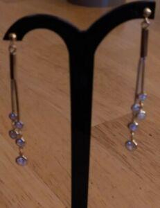 Gold Vermeil Sterling Silver Diamonique Dangle Earrings