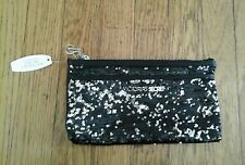 NEW WITH TAGS VICTORIA'S  SECRET CLUTCH BAG BLACK SILVER  SEQUINS