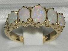 Luxury Ladies Victorian Style Solid Hallmarked 9ct Gold Genuine Fiery Opal  Ring