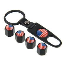 USA America US Flag Car Wheel Tire Stem Air Valve Caps Dust Covers w/Key Chain