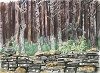 Karl Adser 1912-1995 Muro Am Bosque Natural Salvaje Suecia Escandinavia