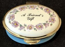 Staffordshire Enamels A Friend's Gift Oval Trinket Box England Blue Gold