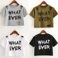Whatever Print Women Girl Ripped Short Sleeve T-Shirt Casual Crop Top Tee Blouse