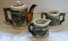 Teapot Creamer and Sugar Bowl Hand Decorated Beer Stein Look Shafford Vintage