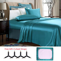 Luxury 4 Pieces Super Soft Satin Silky Bed Sheet Set Deep Pocket ,Free Straps