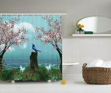 Aqua Blue Pink Cherry Blossom Bird Enchanted Fabric Shower Curtain