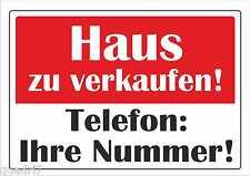 """wetterfestes Schild: """"Haus zu verkaufen"""" 32x45cm"""