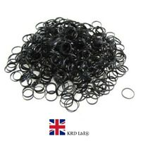250x MINI BLACK HAIR ELASTICS Rubber Bands Braids Braiding Plaits Small Bands UK