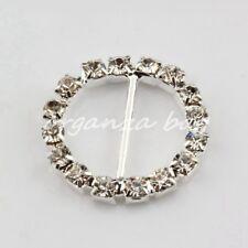 50pcs silver Round Crystal Rhinestone Ribbon Slider Buckles Wedding Invitations