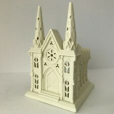 PartyLite Cathedral Church Tea Light Candle Holder Ceramic Village Ivory White