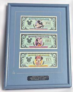 Disney Dollars First Day Issue 1990/1991 - 1 Mickey, 5 Goofy, 10 Minnie - Framed