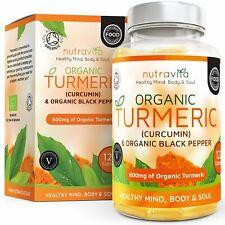 Turmeric Bio 120 Gelules Curcuma Extra Fort 600 mg Curcumine Poivre Noir Vegetal