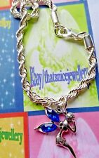 Child's Unique Gift Silver Chain Charm Bracelet & Blue Wings Tinkerbell Fairy