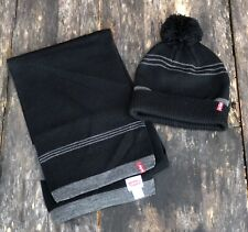Men's LEVI'S BRAND Beanie and Scarf Set - Black and Gray - 100% Acrylic NWOT
