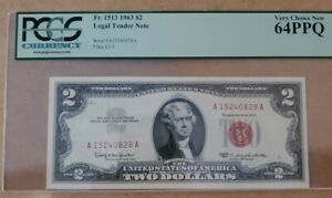 1963 $2 LEGAL TENDER RED SEAL VERY CHOICE NEW 64PPQ