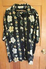Caribbean Joe Hawaiian Shirt Black w/ Yellow & Green Silk XXL Preowned in EC