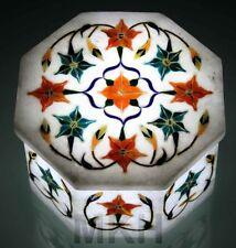 Jewelry Boxes Gift Marquetry Malachite Lapis Floral Hakik Marble Art Trinket Box