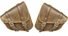 MOTORCYCLE BIKER SWING ARM BAG LEFT AND RIGHT SIDE DISTRESSED BROWN