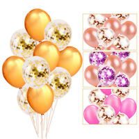 10pc Gold Latex Confetti Balloon Foil Balloons Bridal Shower Wedding Party Decor