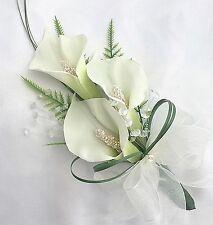 Ladies Bouquet, Occhiello, calle bianche, cristalli, Fiori Artificiali Matrimonio