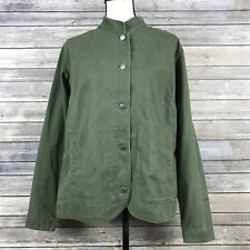 Columbia Olive Military Green Button Front Casual Canvas Jacket Womens Size L
