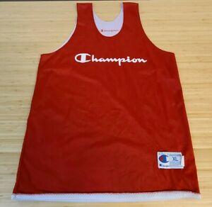 Vintage Champion Mens Basketball Tank Top Jersey Red Spell Out Mesh Mens XL