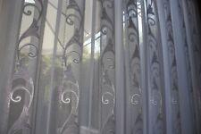Exklusiver Gardinen , Vorhang , Stoff , Meterware, Weiß / Silber ,NEU