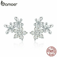 BAMOER Real S925 Sterling silver Stud Earrings Gypsophila With AAA CZ For Women