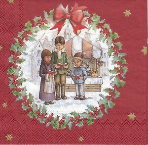 4 Cocktail Papier Servietten Napkins (WW17) Kinder singen auf  Weihnachtsmarkt