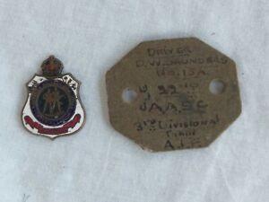 Australian WW1 fibre dog tag and RSL badge. Original 40/Bn. Hobart.