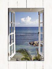 Wand Bild Motiv Katja Sucker Fensterblick Meer Foto Blau 80,9x59,9x1,6 cm A5PS