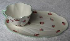 Shelley China England Rosebud snack set~Dainty shape~HTF oval snack tray~NR