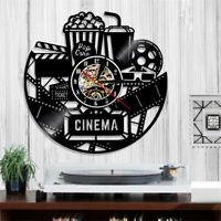 Heimkino Film Kino Popcorn Wanduhr Küchuhr Wohnzimmer Vinyl Uhr 30 cm Schwarz