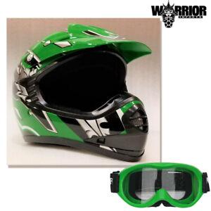 Youth Motocross Helmet & Goggles Kids Green XS - XL Aust Std, Dirt bike Quad BMX
