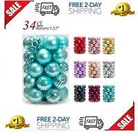 34 Bolas Navideños Azul Turquesa 40mm Adornos Para El Arbolito Arbol De Navidad