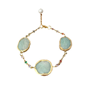 8'' Yellow Gold Plated Amazonite White Pearl Crystal Chain Bracelet