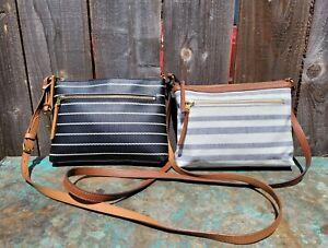Lot 2 FOSSIL Fiona Crossbody Nautical Blue/White Stripe & Heart Shoulder Bag's