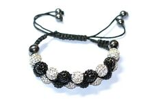 Sparkly Silver Black Rhinestone Hematite Shamballa Bracelet Preloved Adjustable
