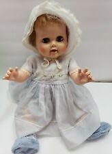 "Vintage 1950's Baby Doll Sleep Eyes Full Eye Lashes 20"" 20-5-W in blue dress"