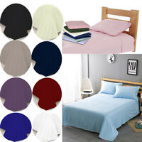 NEW Luxury 100% Soft Poly Cotton Plain Dyed Flat Sheet 200TC  Single Double King