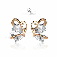 18k yellow gold gf made with SWAROVSKI crystal stud butterfly earrings