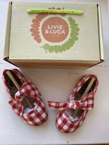 Livie & Luca Toddler Girls Red Gingham Halley Shoes Size 6 New